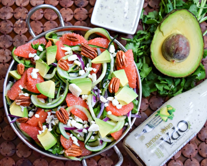 Cucumber Grapefruit Salad with Opa Greek Yogurt Cilantro Avocado Dressing