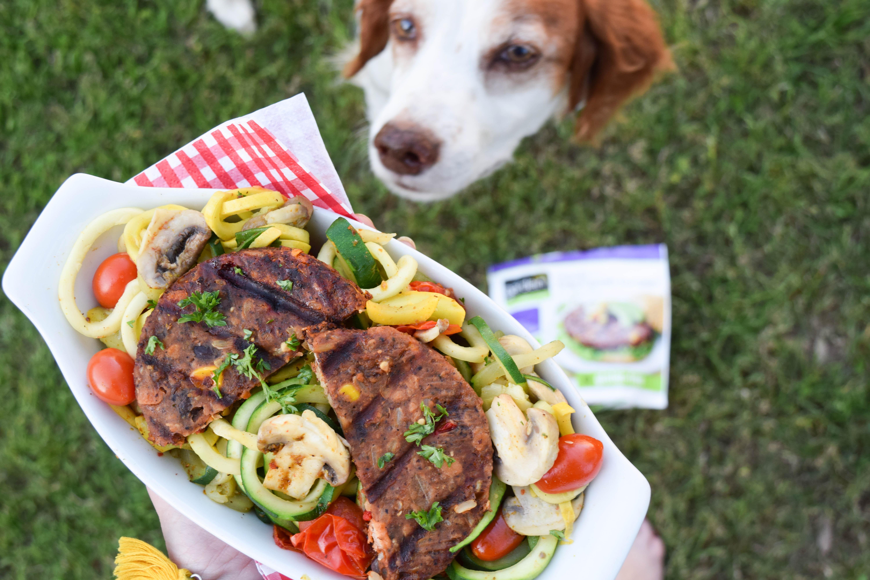 Chipotle Black Bean Burger with Southwestern Mushroom-Squash Toss