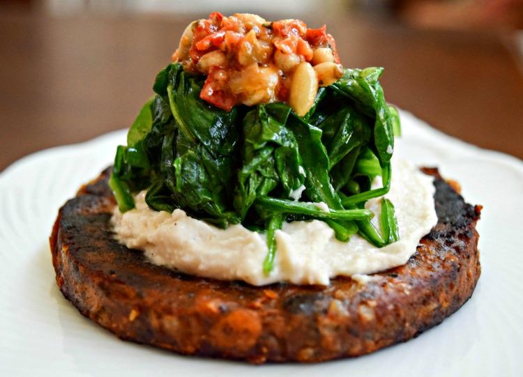 Black Bean Burger, Hummus and Spinach Stack - Gardein
