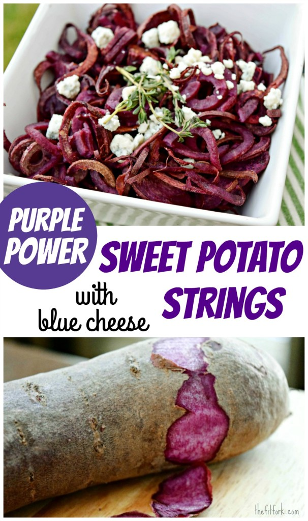 Purple Power Sweet Potato Strings make a healthy side dish to dinner or crowd-pleasing appetizer
