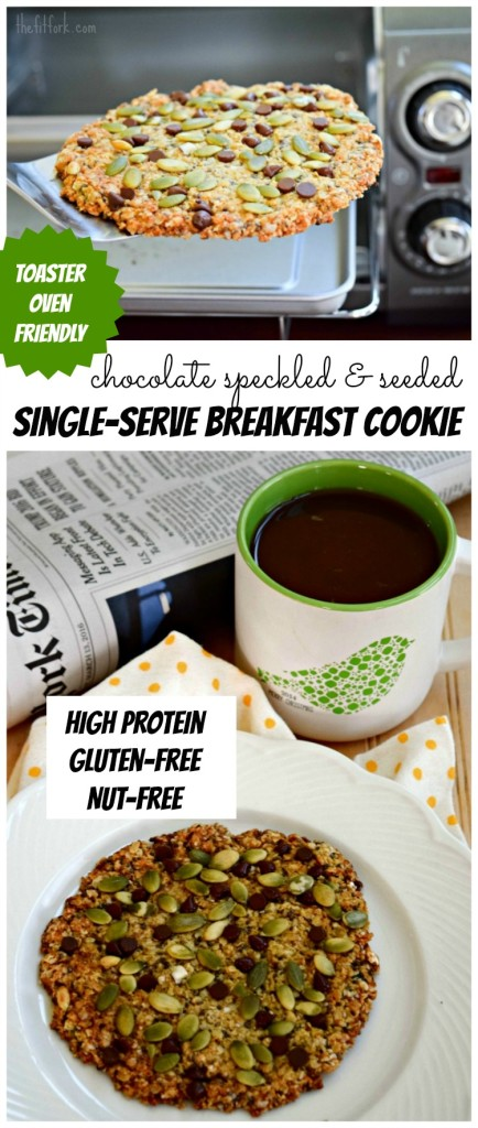 Single Serve Chocolate Speckled and Seeded Breakfast Cookie for Toaster Oven can be made in a conventional or toaster oven! It's also gluten-free and nut-free, plus sugar-free and dairy free without the chocolate chips.  268 calories and 16g protein for this jumbo, giant cookie!