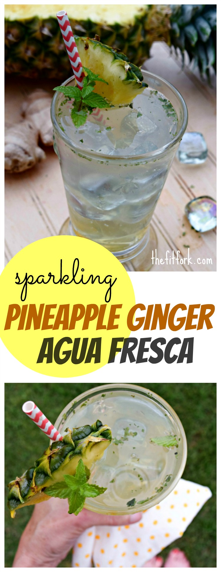 Sparkling Pineapple Ginger Agua Fresca is a very low-calorie option to carbonated beverages and makes a fun, festive mocktail for your next celebration or post-workout recovery.