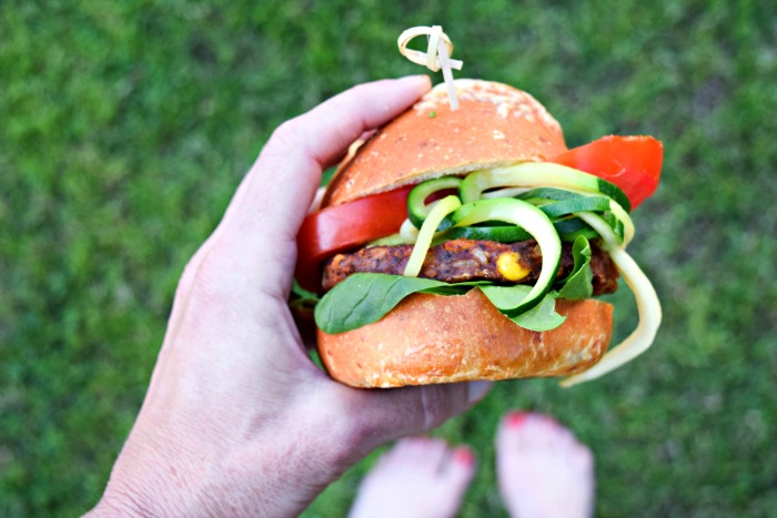 Chipotle Black Bean Burger with Southwestern Zoodles