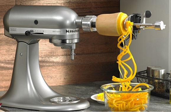 Kitchenaid Spiralizer Attachment puts a new twist on fruits and vegetables. Great for creating healthy recipes.