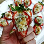 Blue Cheese & Walnut Stuffed Strawberries make a delicious appetizer or sweet-savory dessert!