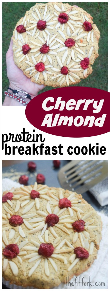 Giant Cherry Almond Protein Breakfast Cookie is a gluten-free, single serve way to start the day -- or eat later for a healthy snack.