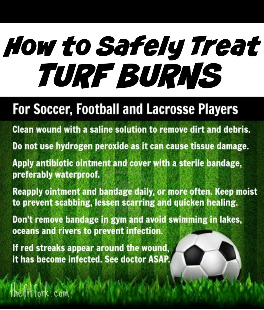 How to Safely Treat Turf Burn on Soccer, Football and Lacrosse Players.