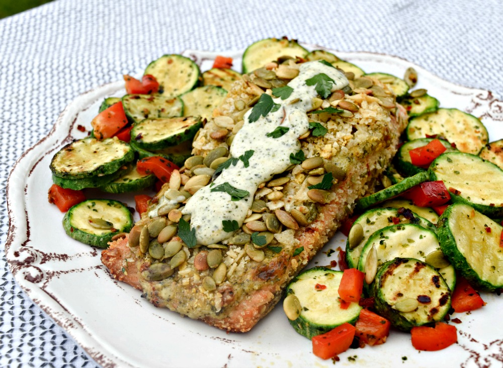 Pepita Crusted Salmon & Calabacitas plated