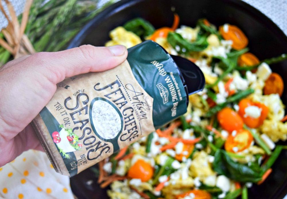 Asparagus Egg Scramble with Litehouse Foods Feta Seasons