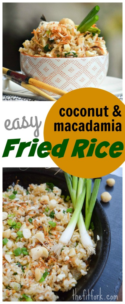 Easy Coconut and Macadamia Fried Rice is a island-inspired side dish or vegetarian meal filled with healthy fats.