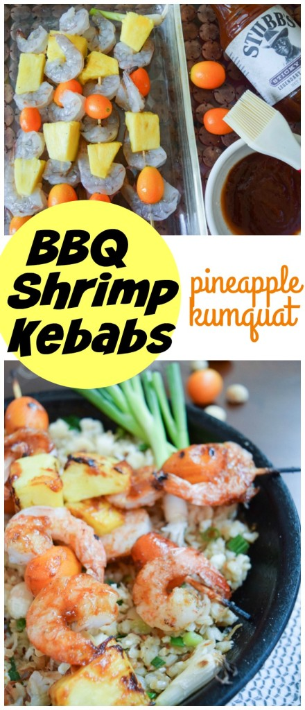 Pineapple Kumquat BBQ Shrimp Kebabs are a quick and easy grilled dinner solution with loads of flavor!