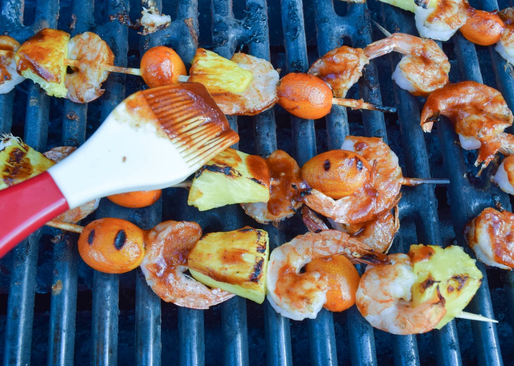 stubb's sticky sweet bbq sauce on shrimp kebabs