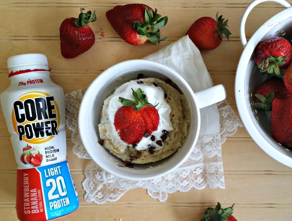 Strawberry Banana Mug Muffin with Core Power