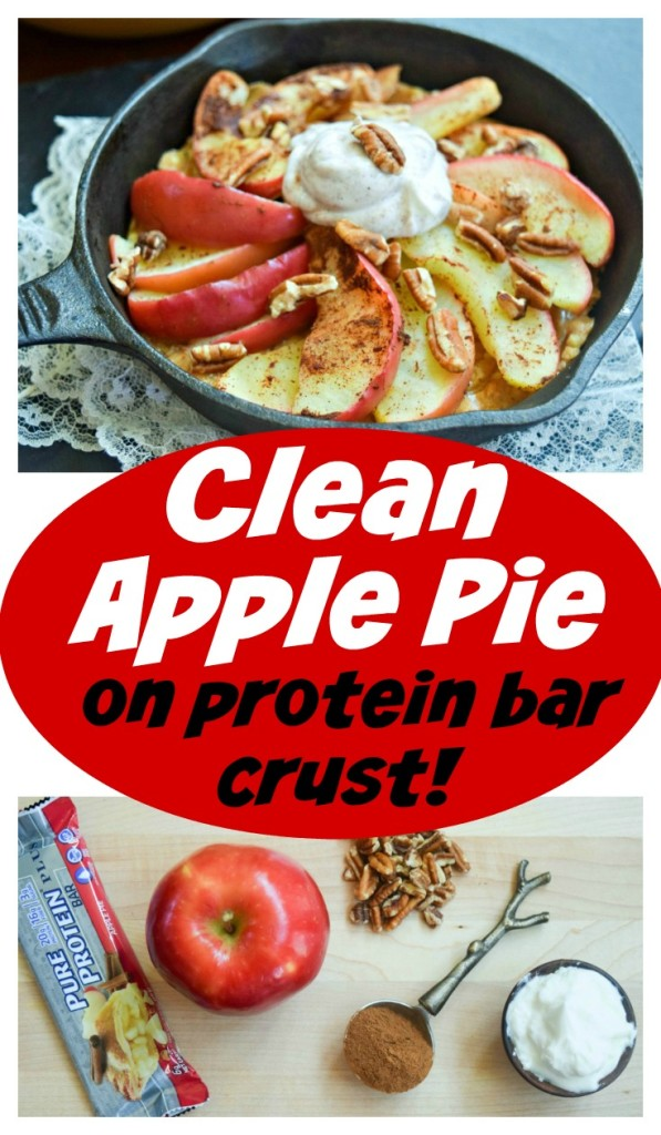 Clean Apple Pie on Protein Bar Crust is a healthy option for dessert or a post workout snack.