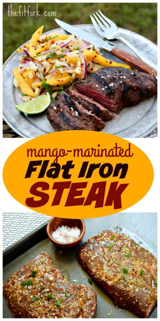 Mango Marinated Steak is made with the flat iron cut, the second most tender cut of beef! A tropical inspired recipe for the grill that takes only 30 minutes to make.