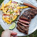 Mango Marinated Steak with Fruity Jicama Ginger Slaw