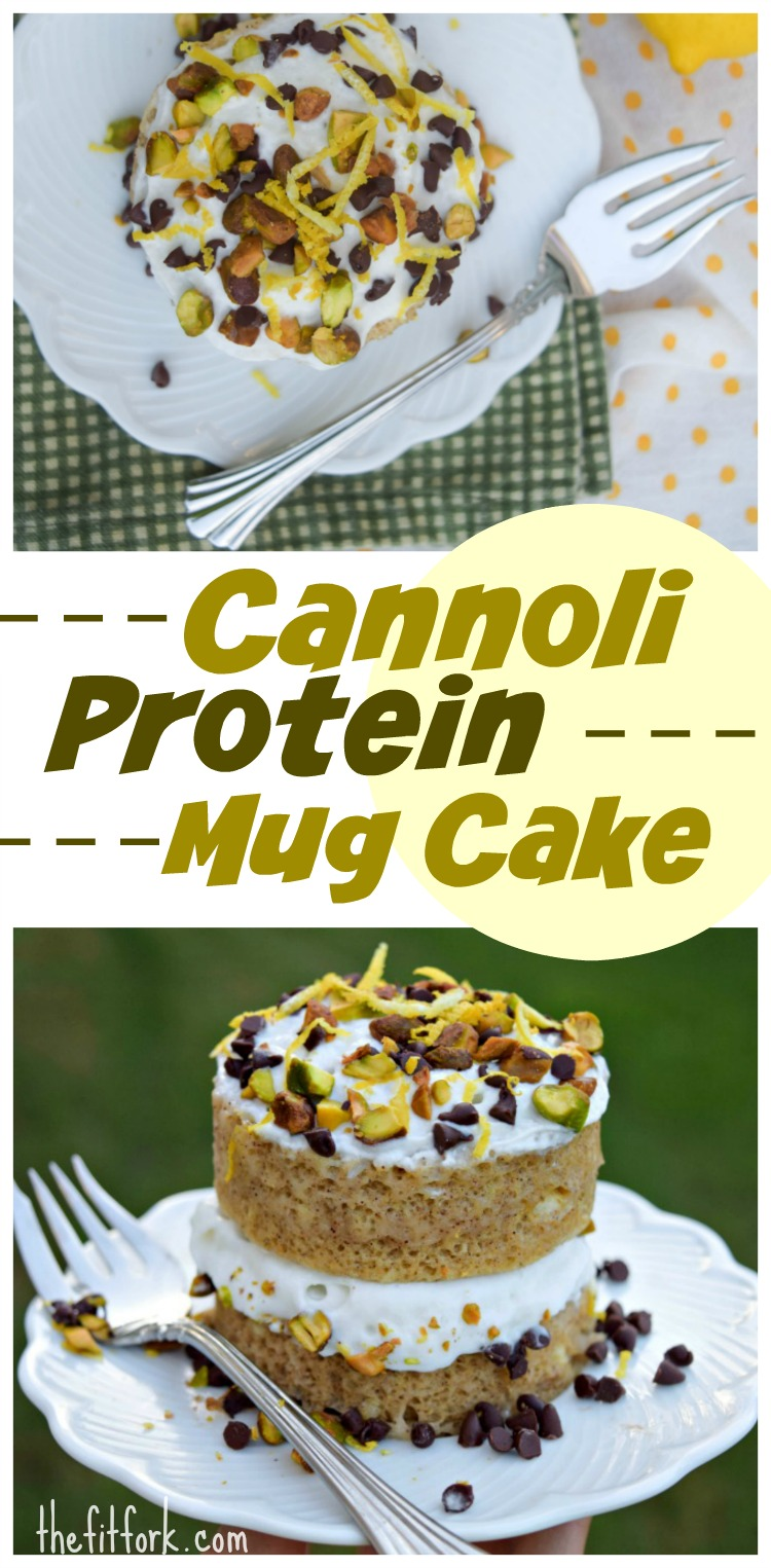 Cannoli Protein Mug Cake takes only about 1 1/2 minutes to cook and is a healthy dessert option, post-workout snack, or even breakfast!