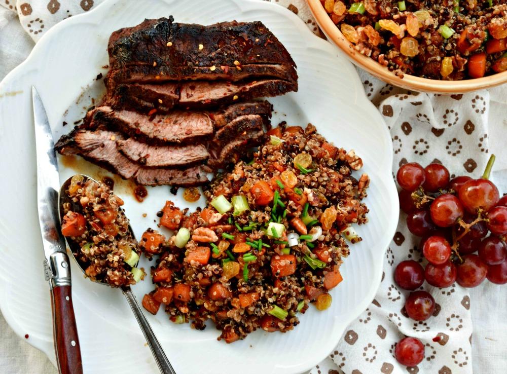 Maple Pecan Raisin Malasses Crusted Steak and Butternut Squash Quinoa