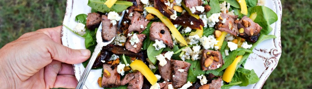 Molasses Steak Salad with Dates Blue Cheese toes