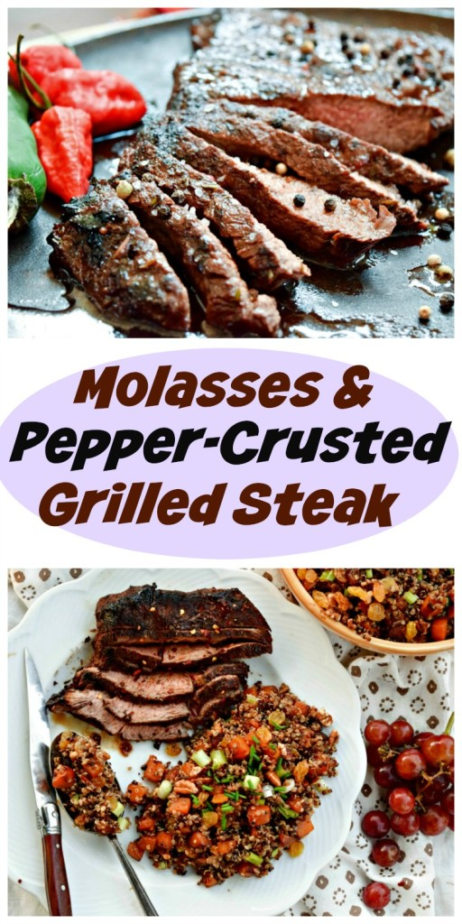 Molasses and Pepper-Crusted Grilled Steak is a quick dinner to grill up and the leftovers can be used in salads, tacos, breakfast hashes and more.