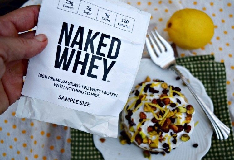 Naked Whey protein powder over Cannoli Mug Cake