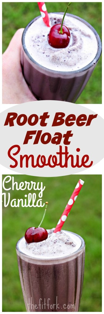 Cherry Vanilla Root Beer Float looks indulgent, but it's really super healthy!  Enjoy for breakfast, a workout snack or sensible dessert!