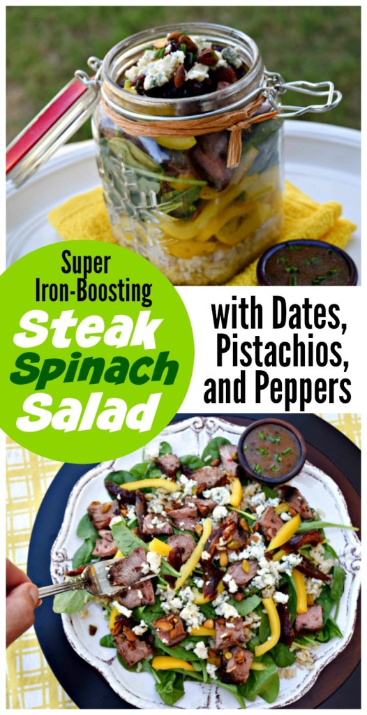 uper Iron Boosting Steak Spinach Salad with Dates, Pistachios and Peppers is a quick and easy meal-solution made with leftover beef. Nearly every ingredients is an abundant source of iron, making it perfect for athletes or those with anemia.