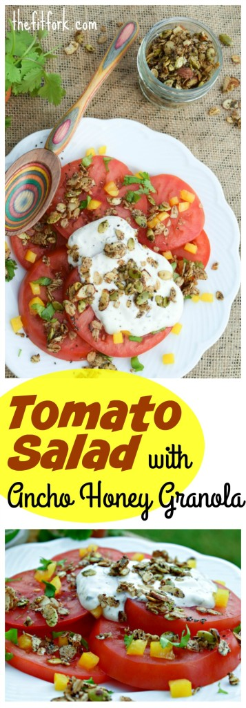 Tomato Salad with Ancho Honey Granola is a gorgeous and good-for-you side dish for your summer meals.