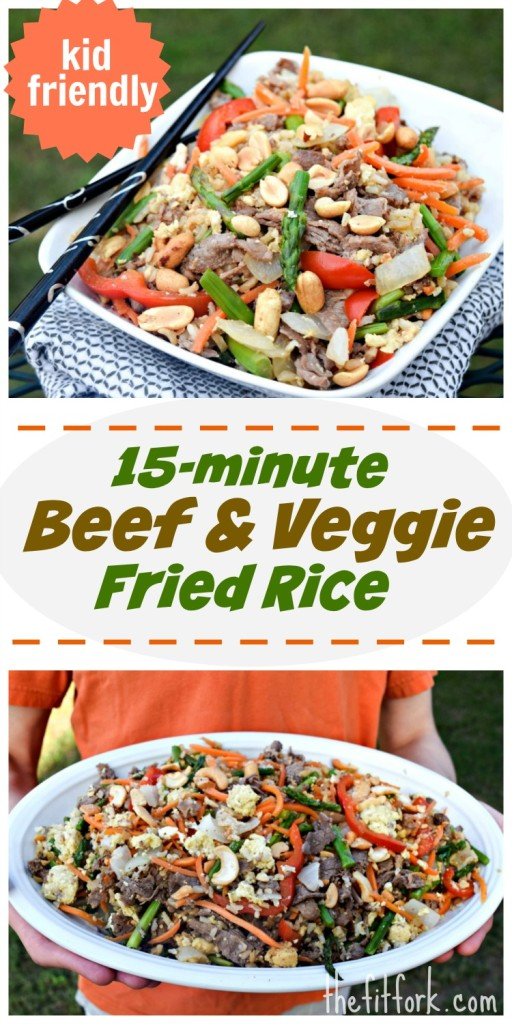 15 minute Beef & Veggie Fried Rice is a super-quick way to get a vibrant and very healthy meal on the table. Plus, its simple enough that younger kids can help and older kids can cook on their own!