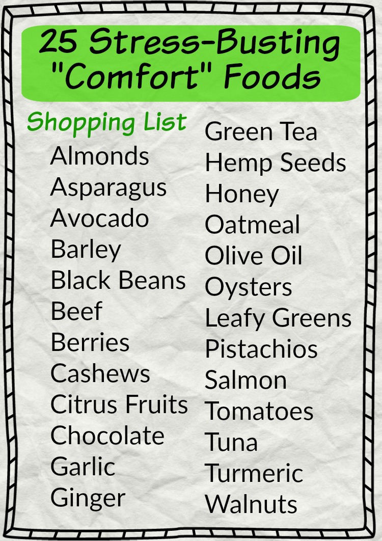 25 Stress Busting Comfort Foods - a healthy shopping list to help reduce inflammation, cortisol levels  and issues with sleep.