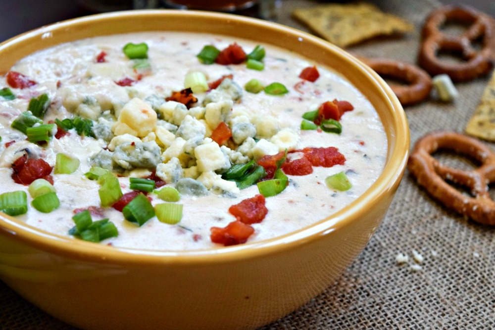 Lower-Fat Blue Cheese Queso makes a great football game day snack served with baked chips, pretzels or veggies.