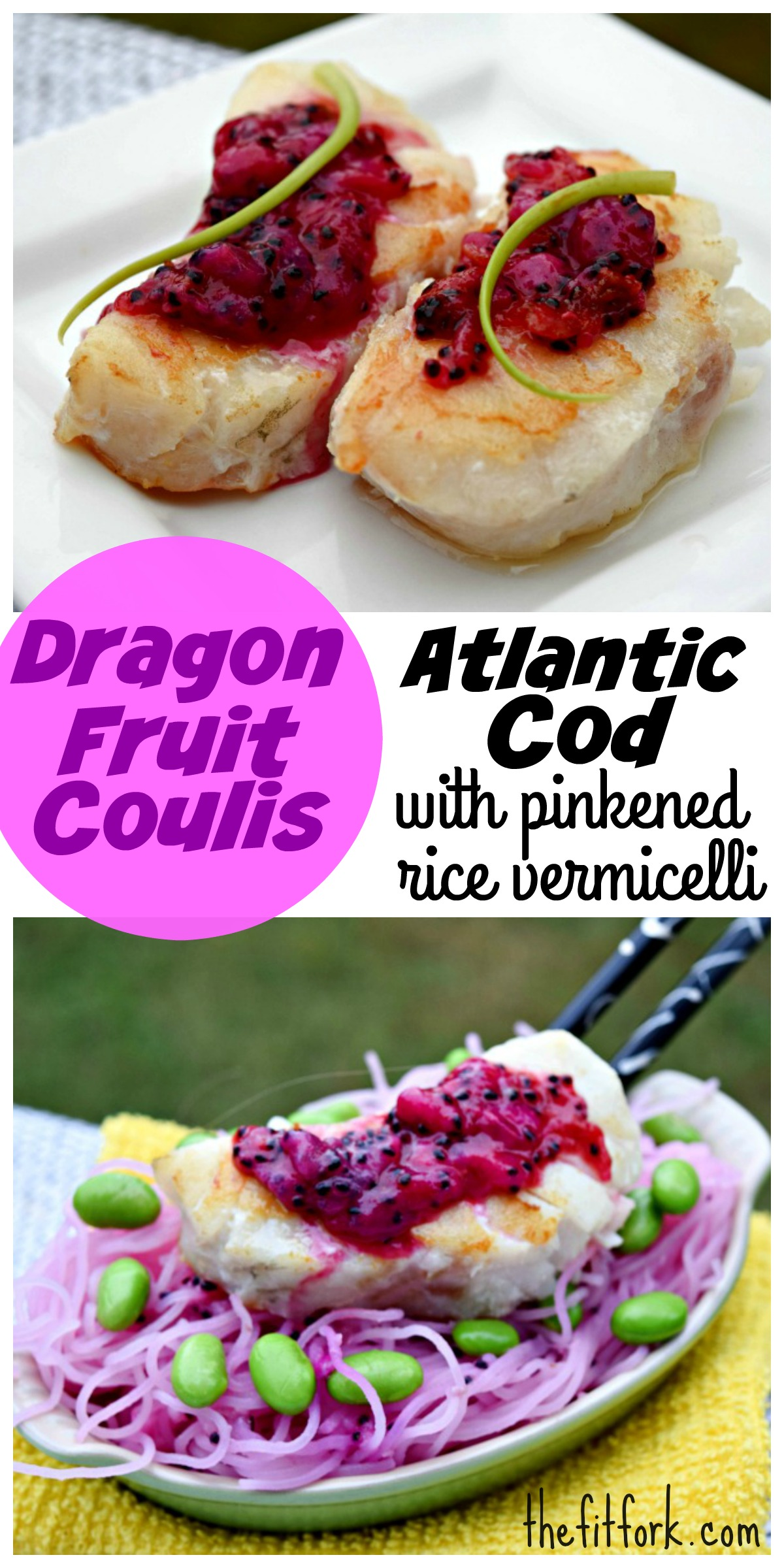 Dragon fruit coulis fish with pink rice vermecilli for Fruit coulis
