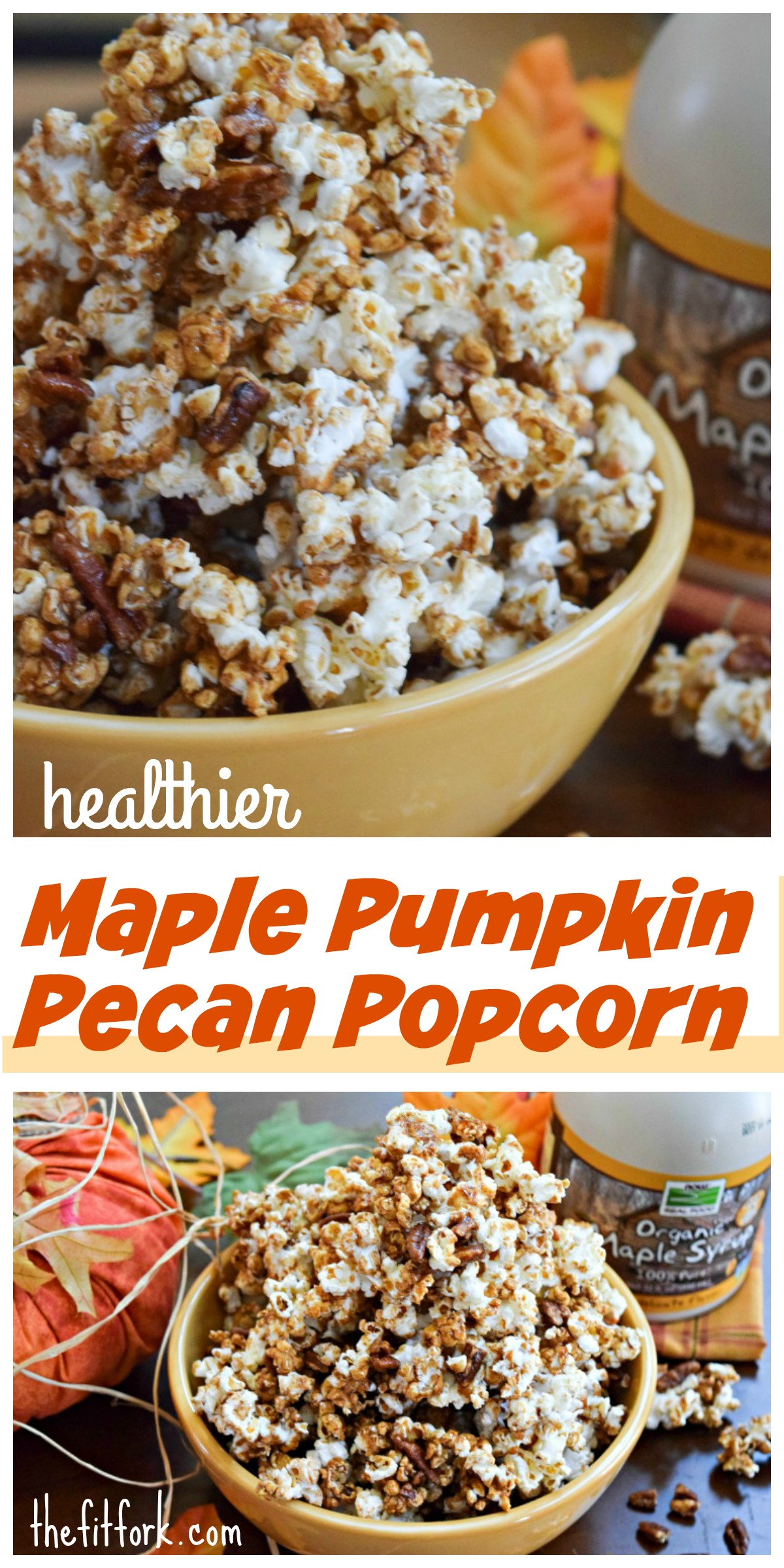 Maple Pumpkin Pecan Popcorn features all the flavors of fall an healthier sugar alternatives!