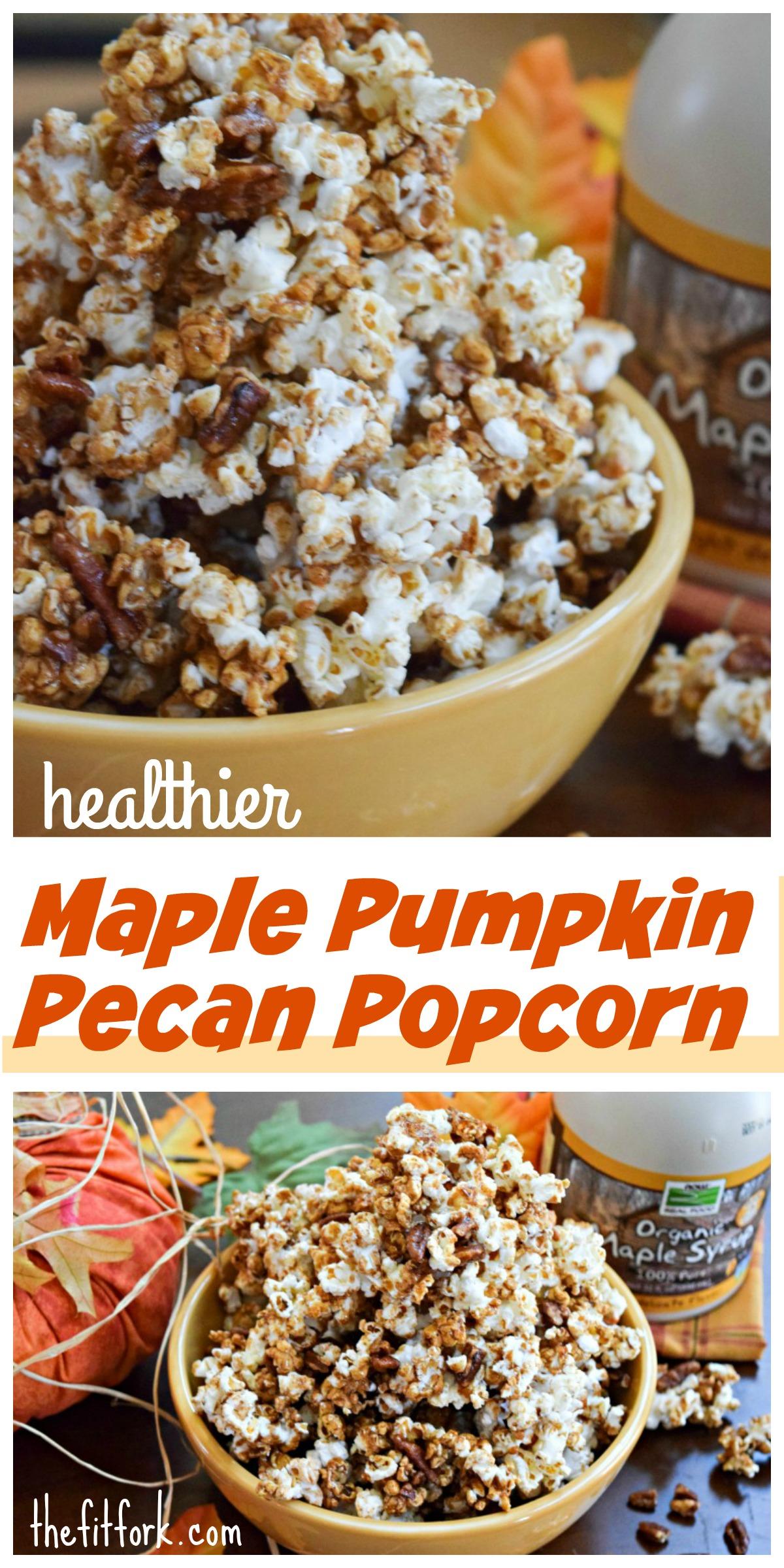 Maple Pumpkin Pecan Popcorn features all the flavors of fall an healthier sugar alternatives!