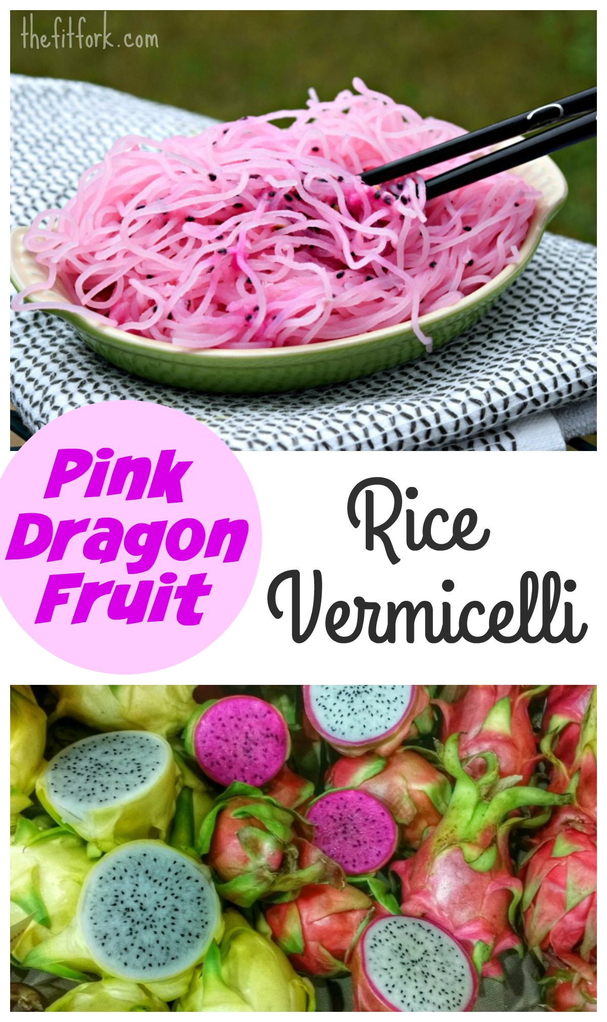 Pink Dragon Fruit Rice Vermacelli are gluten-free noodles soaked in water with this exotic fruit to create the vibrant color!