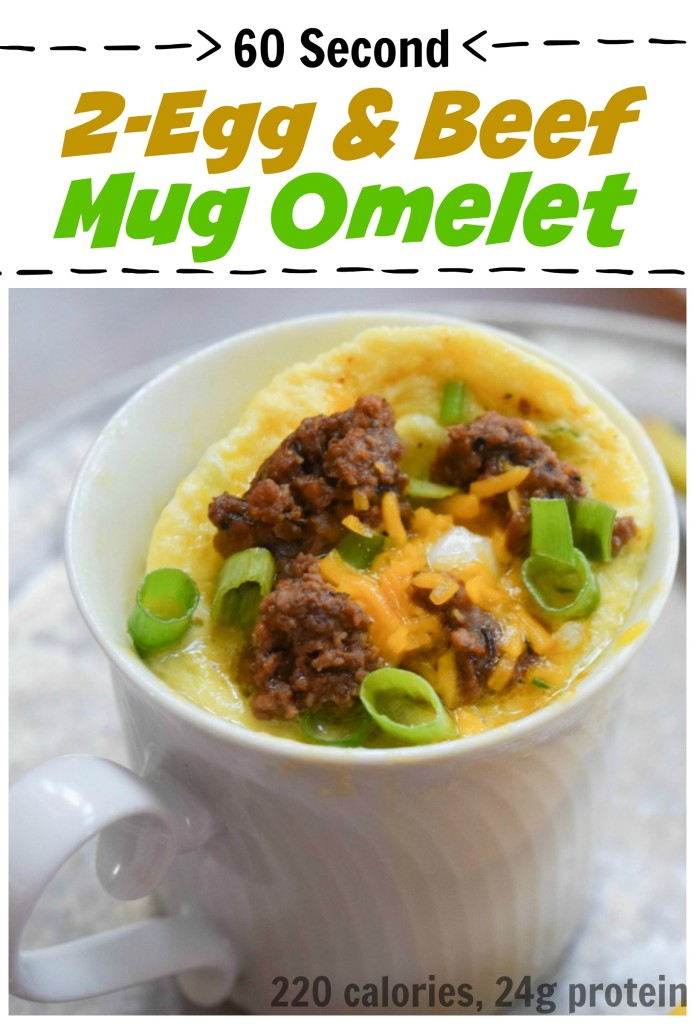 60 Second Beef & Veggie Mug Omlete makes getting a healthy breakfast one less thing to worry about!