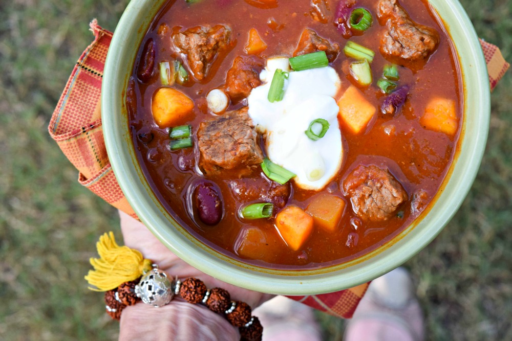 Steak and Squash Harvest Stew comes together in the slow cooker for a hearty, healthy meal that is perfect for dinner on busy weeknights -- weekend meals too!