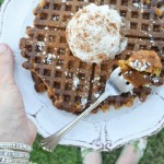 Gluten Free Pumpkin Spice Latte Waffles perk up fall breakfast and brunch -- perfect for Thanksgiving an