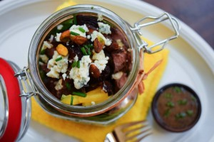 Beef Blue Cheese Date Jar Salad is full of protein and Iron