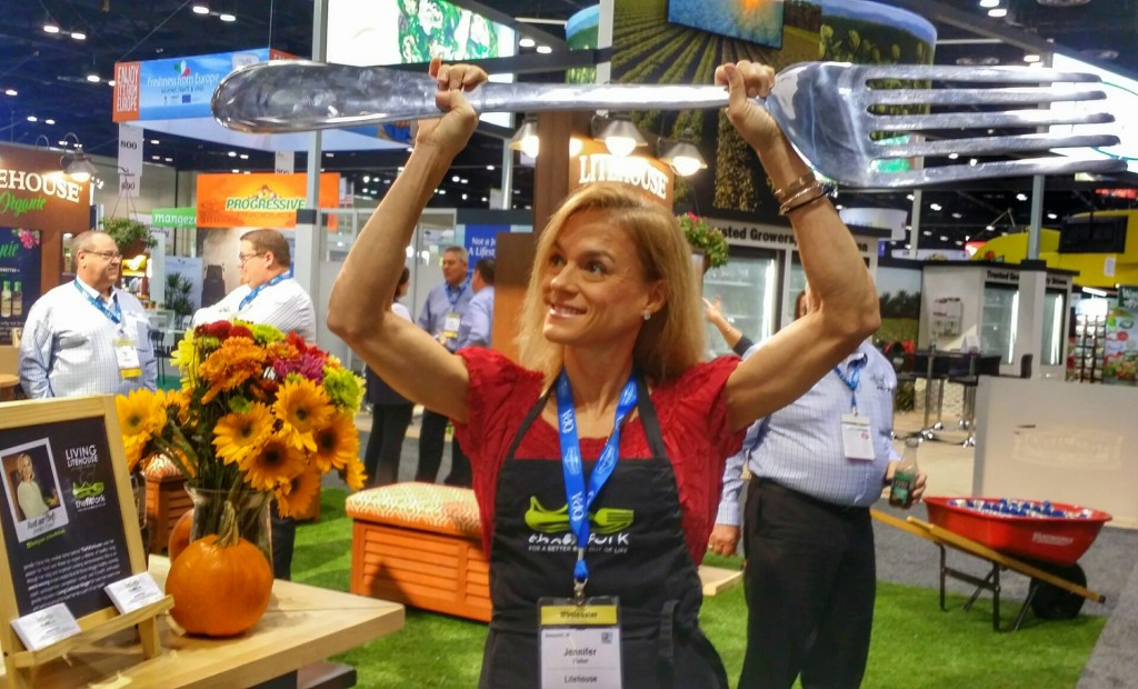 Jennifer Fisher of TheFitFork.com at Litehouse Foods booth PMA Fresh Summit 2016