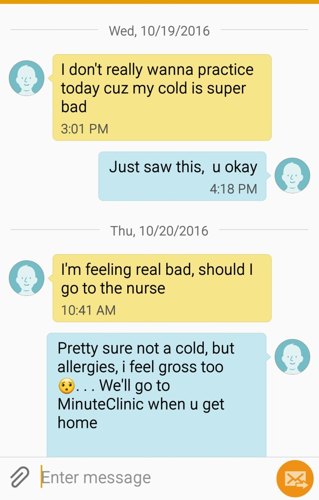 text to mom about allergies and minuteclinic