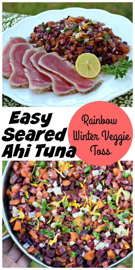 Easy Seared Ahi Tuna with Rainbow Winter Veggie Toss makes a quick, convenient and healthy weeknight dinner.