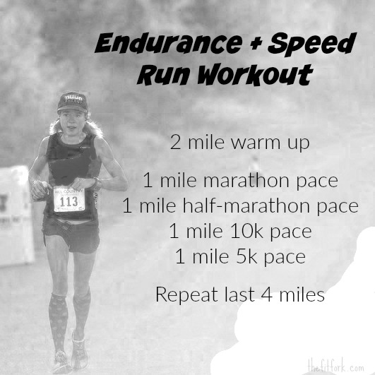 This Endurance + Speed 10 Mile Workout will get you strong and fast for a marathon.