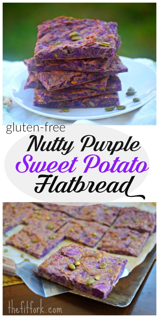 Nutty Purple Sweet Potato Flatbread is a gluten-free, grain-free, sugar-free and dairy-free bread substitute! Eat as a starter, sammie, snack or side dish!
