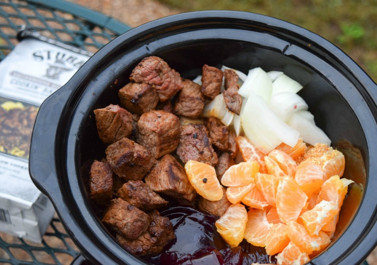 Cranberry Orange Bourbon Beef Stew on Sage Romano Grits in slow cooker