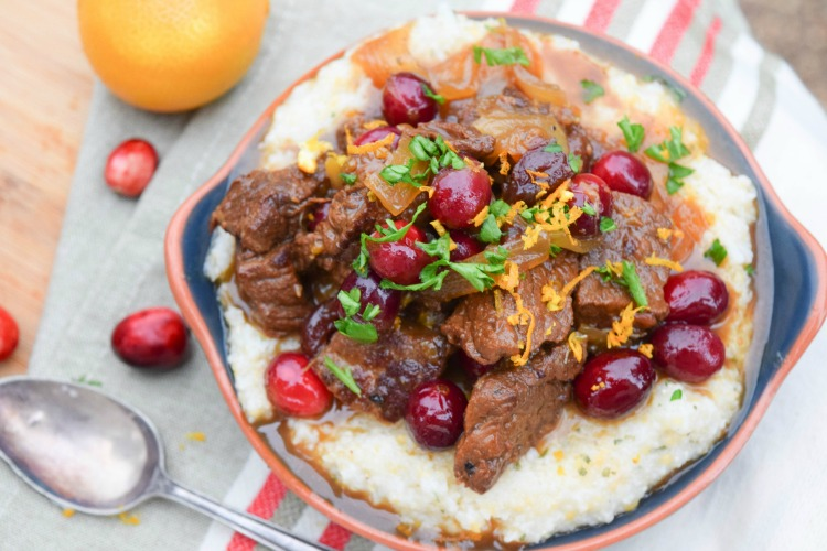 Cranberry Orange Bourbon Beef Stew on Sage Romano Grits