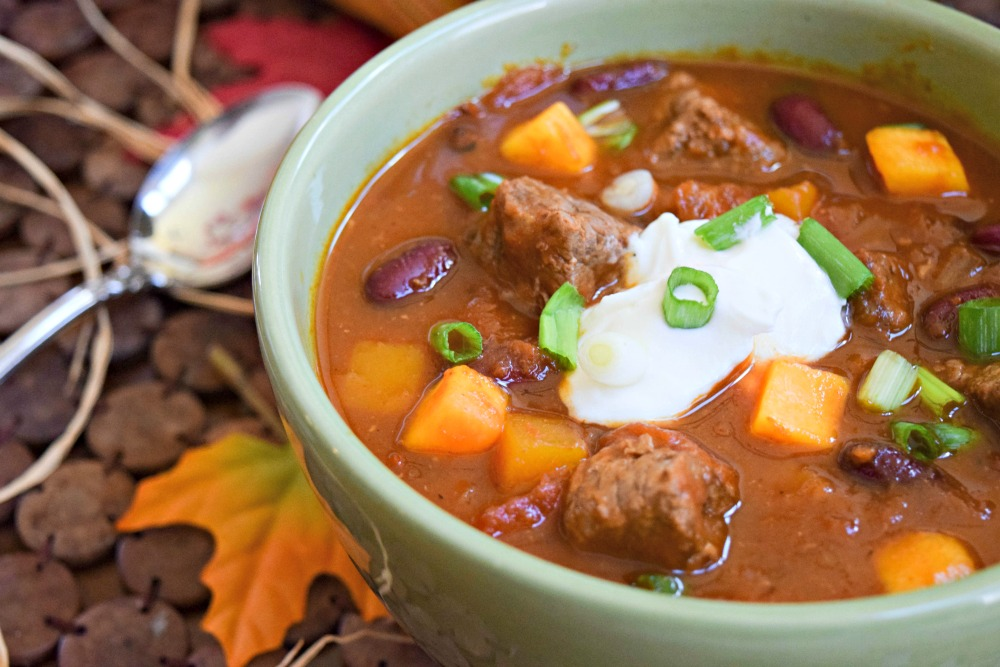 Slow Cooker Fall Harvest Stew with Beef, Butternut Squash and Pumpkin