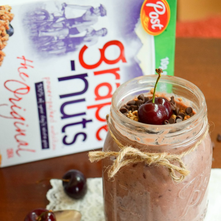 Overnight Chocolate Cherry Breakfast Pudding with Grape-Nuts