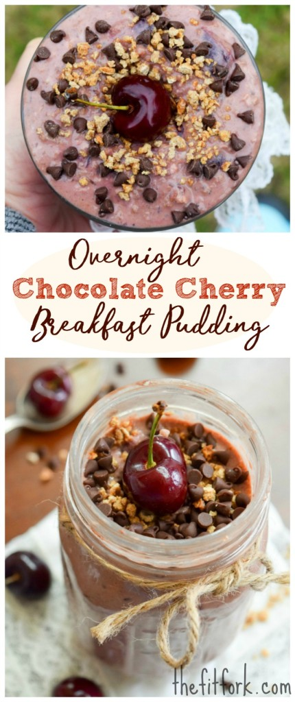 Overnight Chocolate Cherry Breakfast Pudding makes a delicious and nutritious start to the day. It's loaded with 50% of your daily requirements for calcium, 70% of requirements for iron, almost all whole grain daily needs and 28 grams of protein. And, this quick breakfast recipe made with Grape-Nuts cereal can be prepped the night (or two) before and grabbed to go on busy weekday mornings.