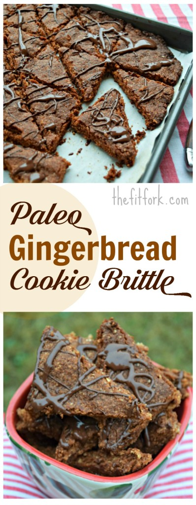 Paleo Gingerbread Cookie Brittle is a grain-free, gluten-free and refined sugar free holiday treat for Christmas or any time of the year! Great to give as an edible gift!